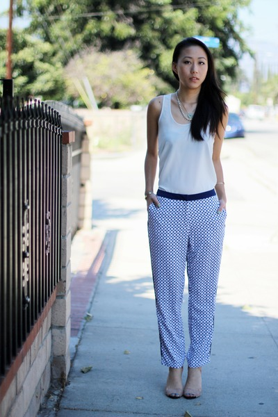 blue H&M pants - ivory silky Nordstrom blouse - orange Zara heels