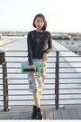 Black-metallic-unknown-sweater-green-h-m-purse-white-printed-unknown-skirt