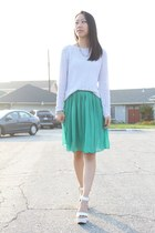white crochet top - green pleated skirt - white ankle strap wedges