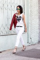 white capri J Brand jeans - red faux leather foreign exchange jacket
