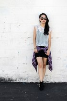 black shoes - black round rim cotton on sunglasses - white crochet top