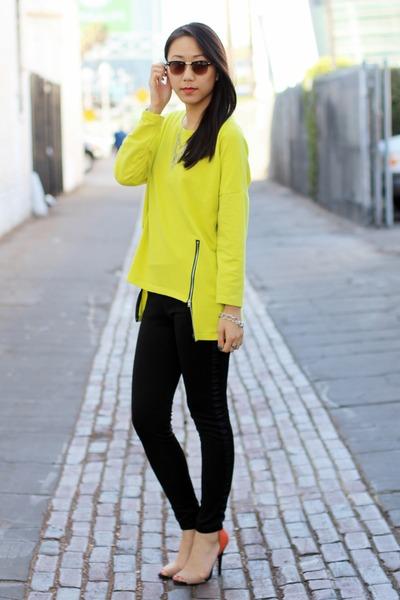 yellow Choies sweater - black Ray Ban sunglasses - black unknown pants