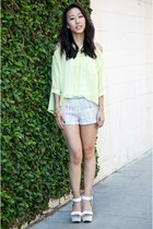 unknown brand shorts - unknown brand top - platform wedges