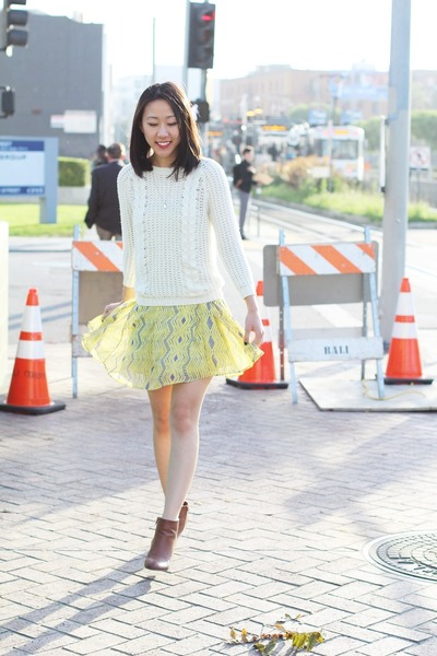 white knit unknown sweater - dark brown booties Forever 21 shoes
