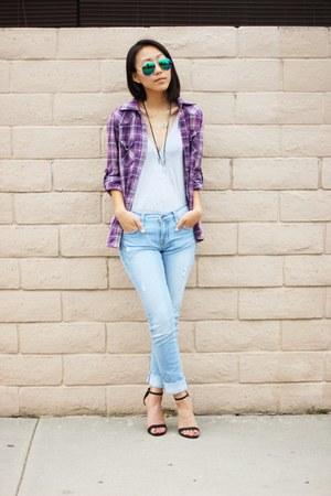 blue distressed papaya jeans - purple plaid Forever 21 shirt