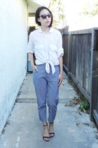 white thrifted top - blue thrifted pants