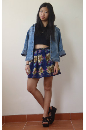 blue denim unknown brand jacket - black black crop Missguided top