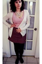 black tights - red skirt - red top - white cardigan