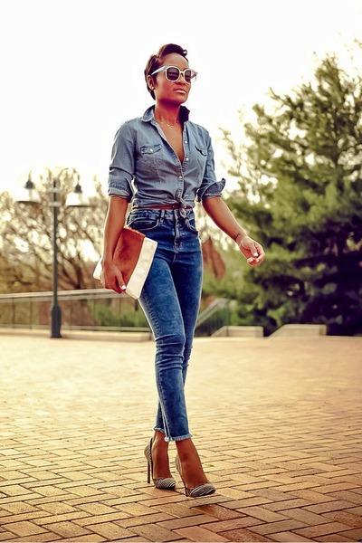 sky blue H&M shirt