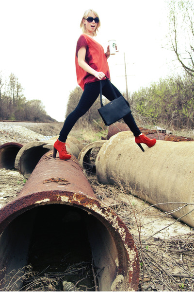 black skinny Charlotte Russe jeans - orange booties Charlotte Russe boots