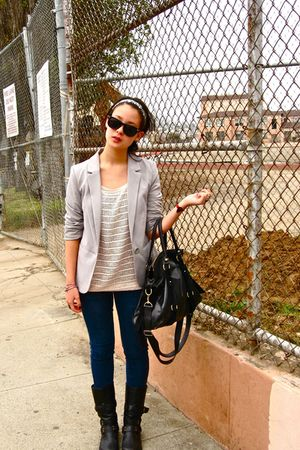 H&amp;M blazer - Forever 21 jeans - Forever 21 accessories - Miu Miu - db boots