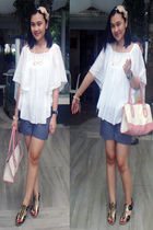 white random from Bangkok blouse - gray Le Chic shorts - pink random brand bag -