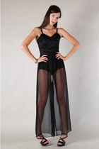 black sheer palazzo The Family Vintage pants