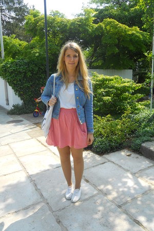 white victory shoes - sky blue denim H&M jacket - white H&M shirt - white karl w