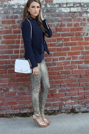 gold lace 7 for all mankind jeans - navy Zara blazer - white Chanel bag