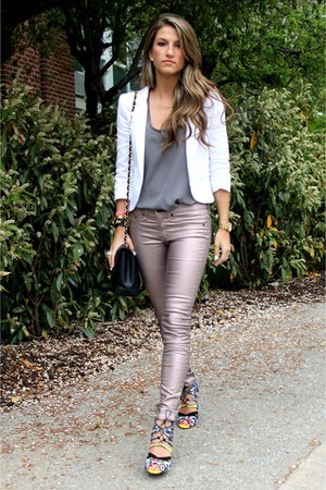 metallic rag &amp; bone pants - white Aqua blazer - charcoal gray Joie shirt