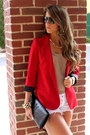 Red-aqua-blazer-tan-bebe-shirt-white-denim-siwy-shorts-black-prada-flats