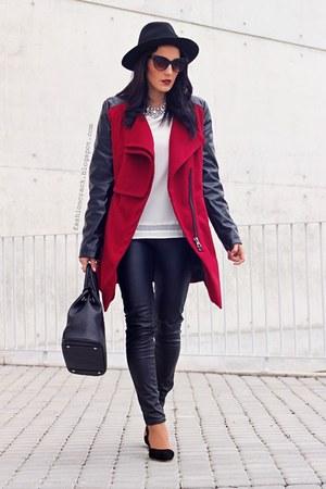 ruby red BangGood coat - black BangGood bag - dark brown zeroUV sunglasses