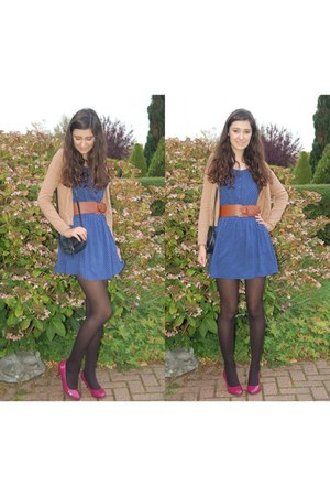 magenta new look heels - blue H&M dress - camel H&M cardigan