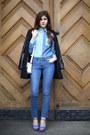 Blue-diesel-jeans-black-leather-sleeves-sheinside-jacket