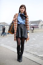 black leather skirt - black lace up boots - houndstooth Pinko coat