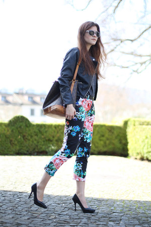 floral H&M pants - black biker warehouse jacket - gray Club Monaco sweater