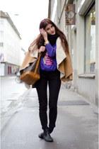 camel jacket - black anna field boots - Louis Vuitton bag - purple owl jumper