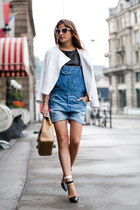 white H&M jacket - blue dungarees asos jeans - beige Chanel bag
