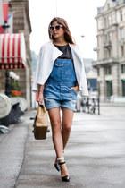 white H&M jacket - blue dungarees asos jeans - beige Chanel bag
