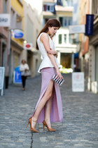 split GoodNight Macaroon skirt - striped bag - pumps - pastel necklace