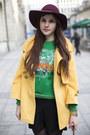 Green-kenzo-jumper-black-studded-boots-crimson-hat-mustard-jacket