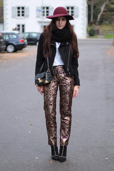 statement pants - black studded Zara boots - brick red H&M hat
