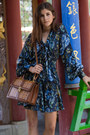 Dark-brown-zara-shoes-blue-floral-rachel-zoe-dress-brown-mcm-bag