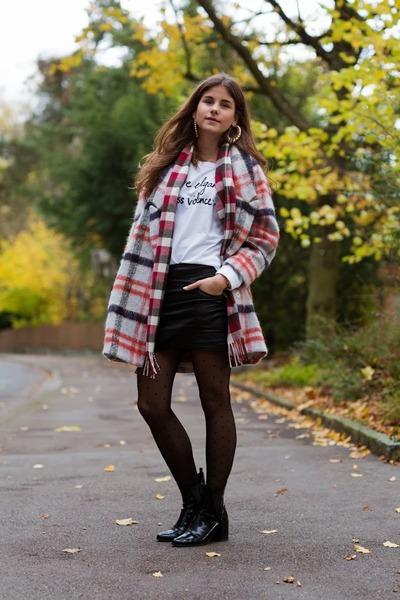 tartan Ganni coat - black boots - letter print sheshebonbon sweater