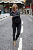 crimson Missoni scarf - olive green acne boots - black PAUW jacket