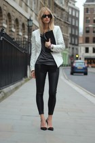 black H&M Trend leggings - periwinkle SNOB blazer - black Frenchonista bag