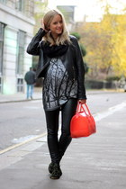 dark green Anniel shoes - black PAUW jacket - black Zara leggings