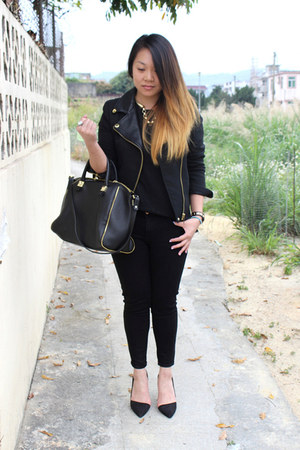 black Topshop jeans - black Zara jacket - black Zara bag - black Topshop t-shirt