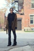 army green biker H&M coat - black pony hair wedge Choies boots