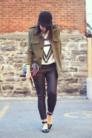 dark khaki military H&amp;M jacket - black cap H&amp;M hat