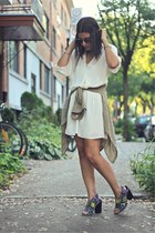 white Zara dress - dark khaki Topshop shirt - camel Saint Laurent sunglasses