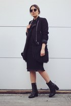black leather asos boots - black H&M jacket - black Front Row Shop skirt