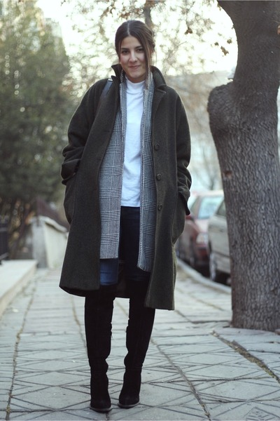 heather gray check print River Island blazer - black knee high Zara boots