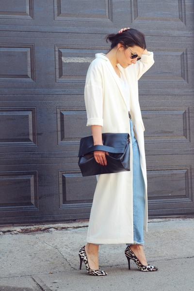 white duster coat asos coat - light blue mom Zara jeans