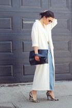 white duster coat asos coat - light blue mom Zara jeans
