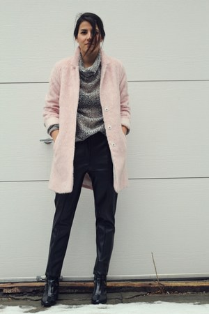 black patent leather Zara boots - light pink fuzzy Topshop coat