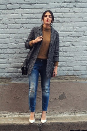 camel angora H&M sweater - dark gray Mango coat - navy Zara jeans