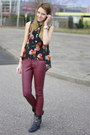 Studded-alysa-boots-faux-leather-h-m-pants-floral-chifon-kenzaa-blouse
