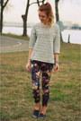 Silver-zara-shoes-studs-h-m-sweater-floral-mango-pants