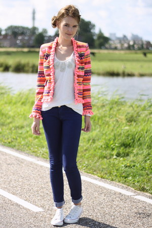 hot pink unknown jacket - jeans - unknown top